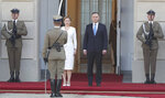 Polish President Andrzej Duda, center right, and Slovakian President Zuzana Caputova, center left, attend a military welcome ceremony at the presidential Palace in Warsaw, Poland, Monday, July 15, 2019. Caputova is staying for an official visit in Poland. (AP Photo/Czarek Sokolowski)