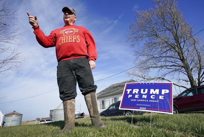 Jasper County Republican Party chairman Thad Nearmyer stands on his farm, Thursday, Nov. 19, 2020, near Monroe, Iowa.