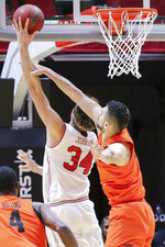 Utah center Jayce Johnson (34) is fouled by Oregon State center Gligorije Rakocevic (23) while shooting during the first half of an NCAA college basketball game, Saturday, Feb. 2, 2019, in Salt Lake City. (AP Photo/Chris Nicoll)
