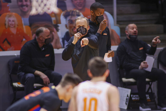 Tennessee head coach Rick Barnes directs his team during an NCAA college basketball game against Florida Sunday, March 7, 2021, in Knoxville, Tenn. (Randy Sartin/Pool Photo via AP)