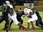 North Texas defensive tackle Ulaiasi Tauaalo (15) and safety Khairi Muhammad (4) take down Florida Atlantic running back Devin Singletary during the first half of an NCAA college football game Thursday, Nov. 15, 2018, in Denton, Texas. (Jake King/The Denton Record-Chronicle via AP)