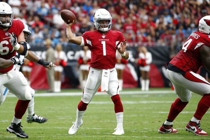 Arizona Cardinals quarterback Kyler Murray (1) throws against the Carolina Panthers during the first half of an NFL football game, Sunday, Sept. 22, 2019, in Glendale, Ariz. (AP Photo/Ross D. Franklin)