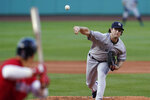 New York Yankees starting pitcher Gerrit Cole delivers to a Boston Red Sox batter during the first inning of a baseball game at Fenway Park, Friday, July 23, 2021, in Boston. (AP Photo/Elise Amendola)