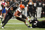 Cleveland Browns tight end Connor Davis (86) runs against the Atlanta Falcons during the second half of a preseason NFL football game, Sunday, Aug. 29, 2021, in Atlanta. (AP Photo/Brynn Anderson)
