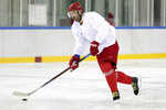 Ilya Kovalchuk, of the team from Russia, works out at the 2018 Winter Olympics in Gangneung, South Korea, Monday, Feb. 12, 2018. (AP Photo/Julio Cortez)