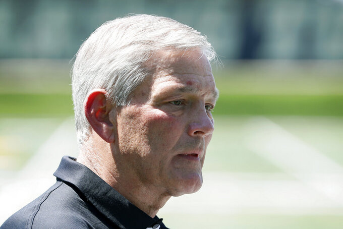 Iowa football coach Kirk Ferentz speaks during a news conference, Friday, June 12, 2020, in Iowa City, Iowa. The Iowa football team took a big step toward improving its lines of communication in the week since the program was hit with allegations of systemic racism, Ferentz and three of his players said Friday. (AP Photo/Charlie Neibergall)