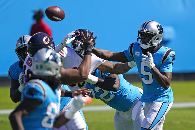 Carolina Panthers quarterback Teddy Bridgewater (5) passes against the Chicago Bears during the first half of an NFL football game in Charlotte, N.C., Sunday, Oct. 18, 2020. (AP Photo/Brian Blanco)