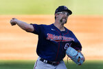 Minnesota Twins pitcher Randy Dobnak works in the first inning of the team's spring training baseball game against the Boston Red Sox on Thursday, March 25, 2021, in Fort Myers, Fla. (AP Photo/John Bazemore)