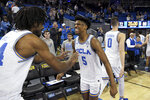 UCLA guard Chris Smith (5) celebrates with forward Jalen Hill, left, after the team defeated Colorado 72-68 in an NCAA college basketball game, Thursday, Jan. 30, 2020, in Los Angeles. (AP Photo/Michael Owen Baker)
