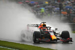 Red Bull driver Max Verstappen of the Netherlands steers his car during qualification ahead of the Formula One Grand Prix at the Spa-Francorchamps racetrack in Spa, Belgium, Saturday, Aug. 28, 2021. The Belgian Formula One Grand Prix will take place on Sunday. (AP Photo/Francisco Seco)
