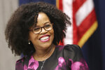 This Jan. 6, 2020, photo shows Boston City Council President Kim Janey at Boston City Hall. When Mayor Marty Walsh is confirmed in 2021as President Joe Biden's Secretary of Labor, Janey will be Boston's interim mayor, the first time the office will be held by a Black woman. (David L Ryan/The Boston Globe via AP)
