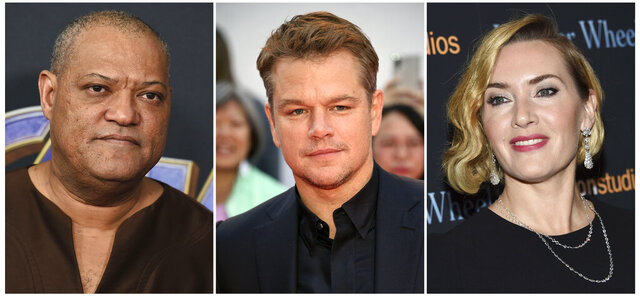 """This combination photo shows actors, from left, Laurence Fishburne, Matt Damon and Kate Winslet, who are among the stars of the 2011 thriller """"Contagion"""" who have reunited for a series of public service announcements to warn about COVID-19. They have teamed up with scientists from Columbia University's Mailman School of Public Health to offer four individual homemade videos. (AP Photo)"""
