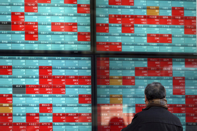 A man looks at an electronic stock board showing Japan's Nikkei 225 index at a securities firm in Tokyo, Friday, Feb. 7, 2020. Asian stock markets have retreated following a surge driven by a Chinese tariff cut on U.S. imports. (AP Photo/Eugene Hoshiko)