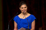 """FILE - In this Wednesday, April 26, 2017 file photo, Sweden's Crown Princess Victoria delivers a speech during a ceremony marking the OPCW's 20th anniversary in The Hague, Netherlands. Sweden is sending its heir to the throne and head of government to Switzerland to support its bid in the 2026 Winter Olympics host vote on Monday, June 24, 2019. The Stockholm-Are 2026 campaign says Crown Princess Victoria is """"the nation's most popular public figure"""" and will join the delegation in Lausanne. (Peter Dejong, Pool Photo via AP, File)"""
