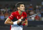 Novak Djokovic of Serbia talks to the umpire during his match against Kevin Anderson of South Africa at the ATP Cup tennis tournament in Brisbane, Australia, Saturday, Jan. 4, 2020. (AP Photo/Tertius Pickard)
