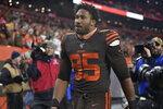 Cleveland Browns defensive end Myles Garrett walks off the field after he was ejected late in the fourth quarter of an NFL football game against the Pittsburgh Steelers, Thursday, Nov. 14, 2019, in Cleveland. The Browns won 21-7. (AP Photo/David Richard)