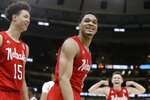 Nebraska's James Palmer Jr. (0) reacts after making a shot during the second half of an NCAA college basketball game against the Maryland in the second round of the Big Ten Conference tournament, Thursday, March 14, 2019, in Chicago. (AP Photo/Kiichiro Sato)