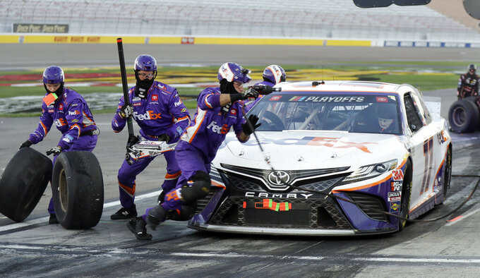 Denny Hamlin pits during a NASCAR Cup Series auto race Sunday, Sept. 27, 2020, in Las Vegas. (AP Photo/Isaac Brekken)