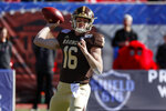 Western Michigan quarterback Jon Wassink throws a pass during the first half of the NCAA First Responder Bowl college football game against Western Kentucky in Dallas, Monday, Dec. 30, 2019. (AP Photo/Roger Steinman)