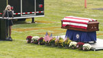 Josepheen Soviak, sister of Maxton, speaks at the funeral for Navy Corpsman Maxton Soviak at Edison High School Stadium, Monday, Sept. 13, 2021, in Milan, Ohio. Soviak was one of 13 U.S. troops killed in a suicide bombing at Afghanistan's Kabul airport on Aug. 26. (AP Photo/Tony Dejak)