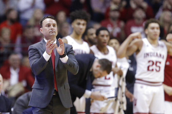 Indiana head coach Archie Miller encourages his team during the first half of an NCAA college basketball game against Louisiana Tech, Monday, Nov. 25, 2019, in Bloomington, Ind. (AP Photo/Darron Cummings)