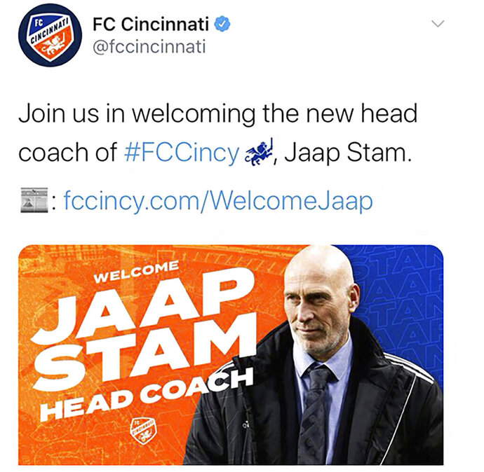 This image from the Twitter account of MLS soccer team FC Cincinnati shows a tweet, Thursday, May 21, 2020, to introduce new head coach Jaap Stam. The photo actually shows Ajax Youth coach Tinus van Teunenbroek. FC Cincinnati sent another tweet with a photo that shows Stam. (Twitter via AP)
