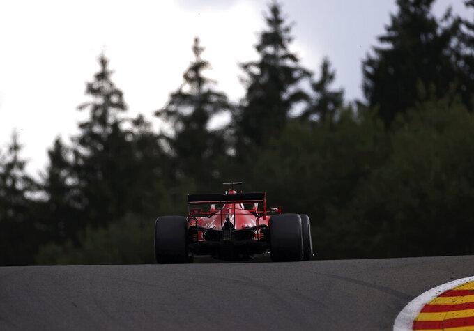 Ferrari driver Sebastian Vettel of Germany steers his car during the Formula One Grand Prix at the Spa-Francorchamps racetrack in Spa, Belgium Sunday, Aug. 30, 2020. (Lars Baron, Pool via AP)