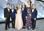 Iain Armitage, from left, Cameron Crovetti, Ivy George, Chloe Coleman, Darby Camp and Nicholas Crovetti arrive at the 26th annual Screen Actors Guild Awards at the Shrine Auditorium & Expo Hall on Sunday, Jan. 19, 2020, in Los Angeles. (Photo by Richard Shotwell/Invision/AP)