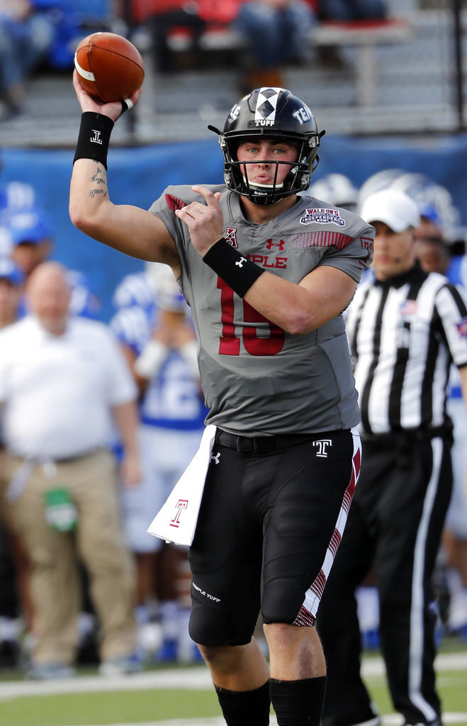 Temple quarterback Anthony Russo (15) passes against Duke during the first half of the Independence Bowl, an NCAA college football game in Shreveport, La., Thursday, Dec. 27, 2018. (AP Photo/Rogelio V. Solis)