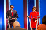 FILE - In this July 26, 2018, file photo, Republican U.S. Senate candidates Leah Vukmir, right, and Kevin Nicholson debate in Milwaukee. Nicholson, running as an outsider, is running against Vukmir, a 15-year veteran of the Legislature who had the state GOP endorsement. The Republican primary battle for a Wisconsin U.S. Senate seat pits two loyalists to President Donald Trump who agree on most of the issues. (Tyger Williams/Milwaukee Journal-Sentinel via AP, File)