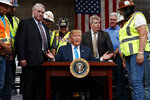 President Donald Trump signs and executive order on energy and infrastructure at the International Union of Operating Engineers International Training and Education Center, Wednesday, April 10, 2019, in Crosby, Texas. (AP Photo/Evan Vucci)