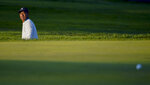 Tiger Woods, of the United States, checks his lie after a shot onto the eighth green during the second round of the US Open Golf Championship, Friday, Sept. 18, 2020, in Mamaroneck, N.Y. (AP Photo/John Minchillo)