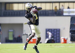 New Orleans Saints wide receiver Marquez Callaway (1) catches a pass during NFL football training camp in Metairie, La., Wednesday, Aug. 4, 2021. (AP Photo/Derick Hingle)