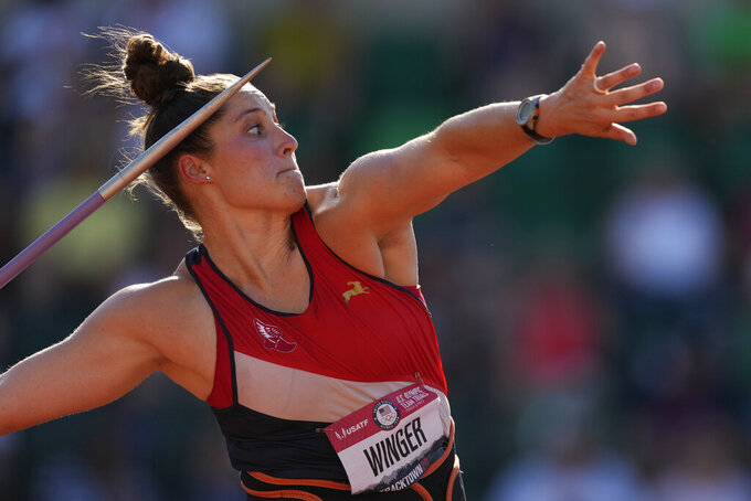 Kara Winger competes during the finals of the women's javelin throw at the U.S. Olympic Track and Field Trials Saturday, June 26, 2021, in Eugene, Ore. (AP Photo/Charlie Riedel)