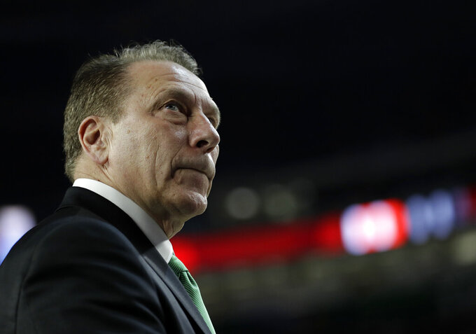 Michigan State head coach Tom Izzo watches after the team's 61-51 loss to Texas Tech in the semifinals of the Final Four NCAA college basketball tournament against Texas Tech, Saturday, April 6, 2019, in Minneapolis. (AP Photo/David J. Phillip)