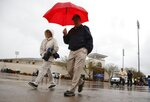 Stadium staff walk back to their cars as they leave Surprise Stadium after a spring training baseball game between the Kansas City Royals and the Chicago White Sox was called off due to rain Tuesday, March 12, 2019, in Surprise, Ariz. (AP Photo/Ross D. Franklin)