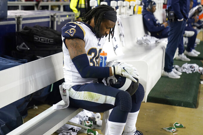 Los Angeles Rams running back Todd Gurley II sits on the bench during the second half of the team's NFL football game against the San Francisco 49ers in Santa Clara, Calif., Saturday, Dec. 21, 2019. (AP Photo/Tony Avelar)
