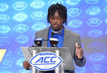 Pittsburgh's Maurice Ffrench speaks during the Atlantic Coast Conference NCAA college football media days in Charlotte, N.C., Thursday, July 18, 2019. (AP Photo/Chuck Burton)