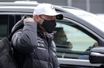Mercedes driver Valtteri Bottas of Finland arrives for the first practice session at the Sochi Autodrom circuit, in Sochi, Russia, Friday, Sept. 24, 2021. The Russian Formula One Grand Prix will be held on Sunday. (AP Photo/Sergei Grits)