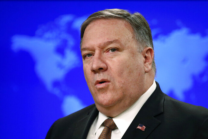 FILE - In this April 8, 2019, file photo, Secretary of State Mike Pompeo speaks at a news conference to announce the Trump administration's plan to designate Iran's Revolutionary Guard a