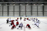 Members of Canada men's hockey team gather on ice during practice ahead of the 2018 Winter Olympics in Gangneung, South Korea, Friday, Feb. 9, 2018. (AP Photo/Felipe Dana)