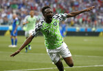 Nigeria's Ahmed Musa celebrates after scoring his team's second goal during the group D match between Nigeria and Iceland at the 2018 soccer World Cup in the Volgograd Arena in Volgograd, Russia, Friday, June 22, 2018. (AP Photo/Darko Vojinovic)