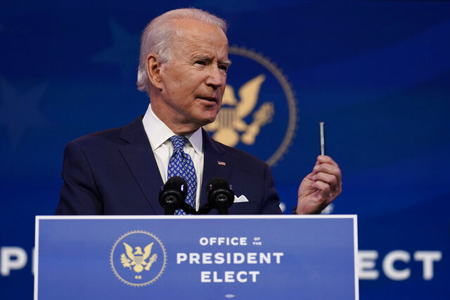President-elect Joe Biden speaks at The Queen Theater in Wilmington, Del., Tuesday, Dec 22, 2020. (AP Photo/Carolyn Kaster)