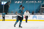 San Jose Sharks center Patrick Marleau waves to fans after the Vegas Golden Knights defeated the Sharks in an NHL hockey game in San Jose, Calif., Wednesday, May 12, 2021. (AP Photo/Jeff Chiu)