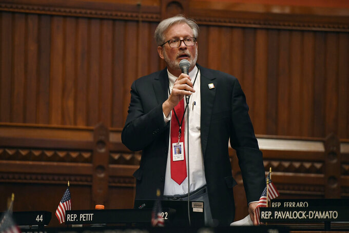 State Rep. William Petit Jr., R-Plainville, speaks during session at the State Capitol, Monday, April 19, 2021. The Connecticut House of Representatives on Monday was expected to pass a contentious bill that would end the state's long-standing religious exemption from immunization requirements for schools. (AP Photo/Jessica Hill)