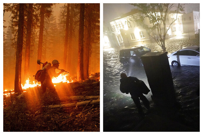 This combination of photos shows a firefighter at the North Complex Fire in Plumas National Forest, Calif., on Monday, Sept. 14, 2020, left, and a person using a flashlight on flooded streets in search of their vehicle, Wednesday, Sept. 16, 2020, in Pensacola, Fla. In the past week, swaths of the country have been burning and flooding in devastating extreme weather disasters. (AP Photo/Noah Berger, Gerald Herbert)