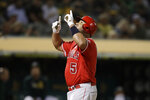 Los Angeles Angels' Albert Pujols celebrates after hitting a home run off Oakland Athletics' Mike Fiers during the fourth inning of a baseball game Tuesday, Sept. 3, 2019, in Oakland, Calif. (AP Photo/Ben Margot)