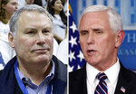"FILE - From left are American Athletic Conference Commissioner Mike Aresco, in a 2017 file photo and Vice President Mike Pence in a 2020 file photo. The commissioners of the major college football conferences held a 30-minute conference call Wednesday, April 15, 2020, with Vice President Mike Pence and stressed to him that college sports could not return from the coronavirus shutdown until college campuses have re-opened. ""We were able to talk about the differences between us and professional sports,"" American Athletic Conference Commissioner Mike Aresco said. (AP Photo/File)"