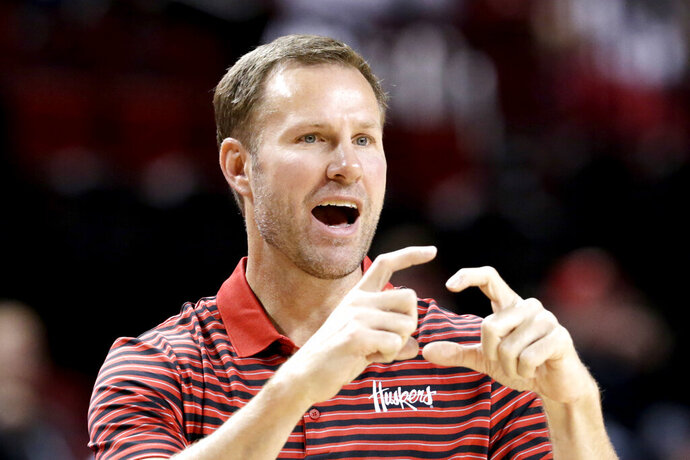 In this Wednesday, Oct. 30, 2019 photo, Nebraska coach Fred Hoiberg calls a play during an NCAA college basketball exhibition game against Doane University in Lincoln, Neb. Hoiberg knows the track record of Nebraska basketball coaches is not good. He wanted the job anyway. He takes over a program that has not won a conference championship in 70 years or ever won a game in the NCAA Tournament. He says a sold-out arena and top-notch facilities can trump the program's lack of tradition. (AP Photo/Nati Harnik)