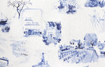 This undated photo shows New York-based textile design studio Eskayel's new pattern called Out East. Founder Shanan Campanaro's watercolor toile paintings were drawn from photos of the Hamptons sourced through interior design firm Curious Yellow. Montauk landmarks like the lighthouse and clam bar, Sag Harbor's windmill and theater, and Sagaponack's vineyards and stables are among the charming images. (Eskayel via AP)